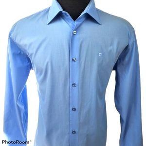 Pierre Cardin Blue Button Up Dress Shirt Size XL